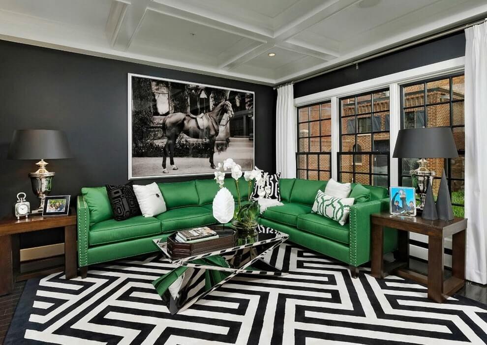 Черный и зеленый в интерьере