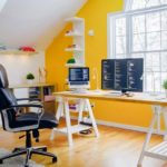 Рабочий кабинет в желтом цвете