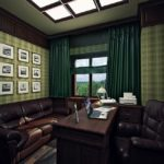 Рабочий кабинет в зеленых тонах