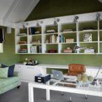 Зеленый цвет в интерьере кабинета