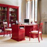 Красный цвет в интерьере домашнего кабинета