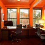 Рабочий кабинет в оранжевых тонах