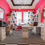 Розовый рабочий кабинет