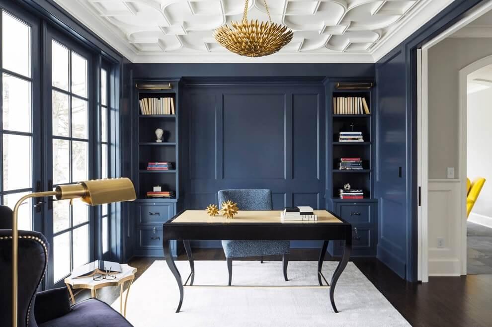Синий цвет в интерьере домашнего кабинета