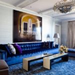 Гостиная комната в синих тонах