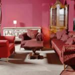 Розовый цвет в интерьере гостиной