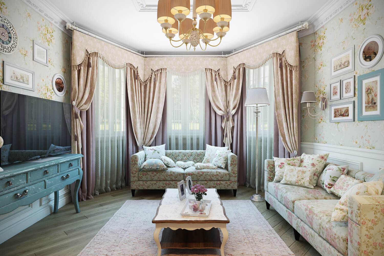 Текстиль для гостиной в стиле шебби шик