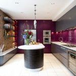 Современная кухня в фиолетовом цвете