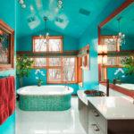 Стильная ванная в бирюзовом цвете