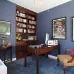 Синий цвет в интерьере рабочего кабинета - фото