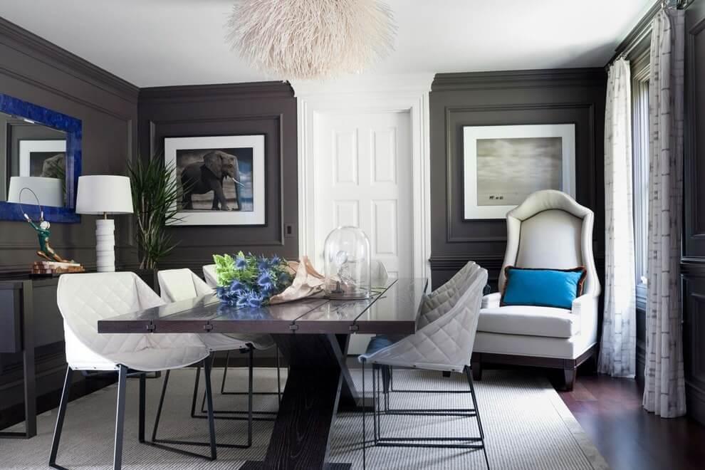 Коричневый цвет в интерьере столовой