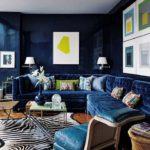 Стильный дизайн гостиной в синем цвете
