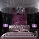 Стильная спальня в фиолетов цвете - фото