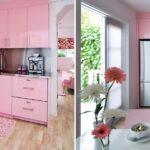 Стильный розовый интерьер кухни