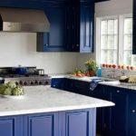 Синие кухонные фасады