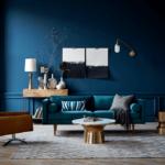 Дизайн современной гостиной в синем цвете