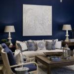 Синий цвет в интерьере гостиной фото