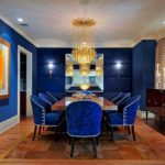 Синий цвет в интерьере столовой