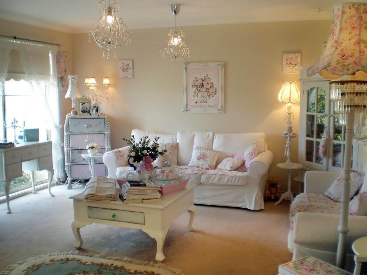 Цветовое оформление гостиной в стиле шебби шик