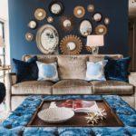 Оформление гостиной в синих цветах