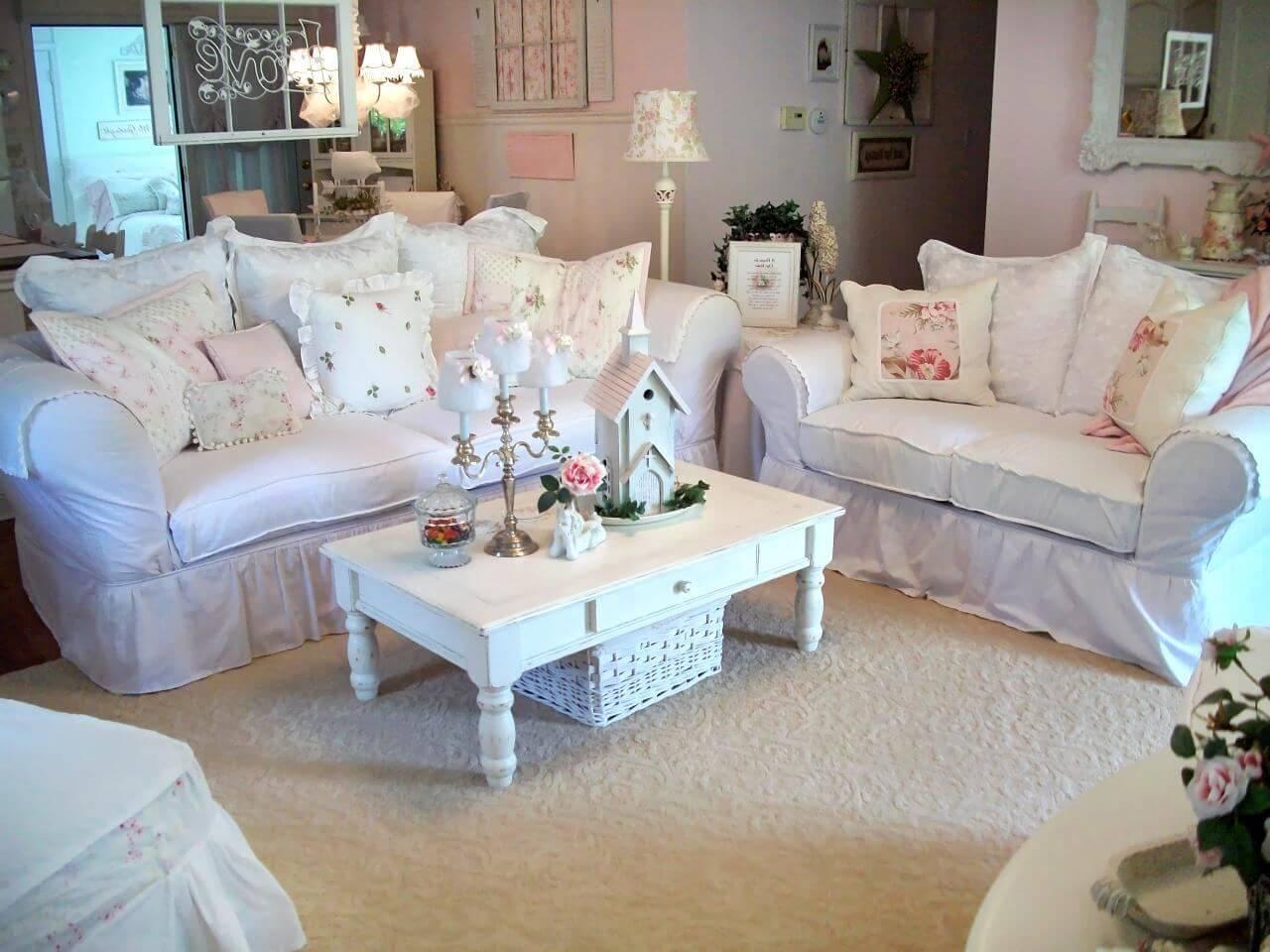 Мебель для гостиной в стиле шебби шик