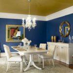 Синий цвет в интерьере столовой - фото