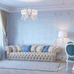 Голубой в интерьере гостиной - фото