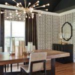 Потолочные люстры в интерьере кухни - фото