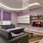 Гостиная комната в сиреневом цвете - фото