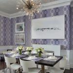 Сиреневый цвет в интерьере столовой