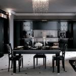 Черный цвет в интерьере кухни - столовой