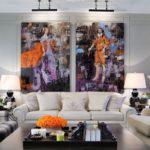Модульная картина в интерьере гостиной комнаты