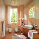 Ванная в персиковом цвете - фото