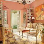 Стены персикового цвета в интерьере