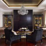 Чёрный цвет в интерьере гостиной - фото