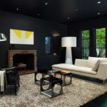 Черный цвет в гостиной - фото