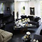 Дизайн гостиной в черном цвете