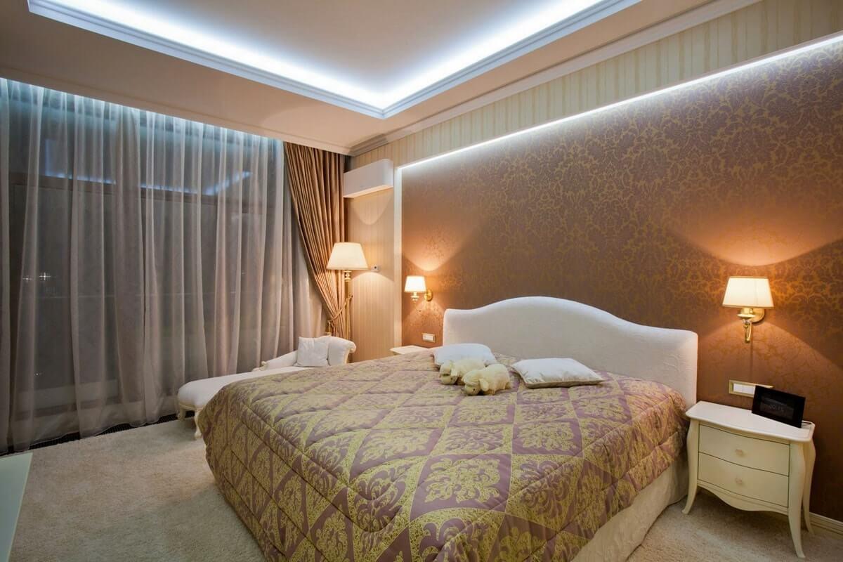 Светодиодная подсветка в интерьере спальни