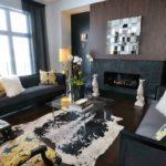 Черный цвет в интерьере гостиной комнаты