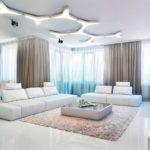 Белый глянцевый наливной пол для гостиной