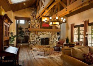 Интерьер гостиной в стиле ранчо
