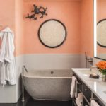 Дизайн ванной в персиковом цвете