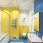 Дизайн ванной в желто-синем цвете