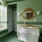 Дизайн интерьера ванной в зеленом цвете