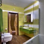 Дизайн интерьера ванной в зеленом цвете - фото