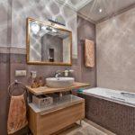 Интерьер ванной в коричневом цвете - фото