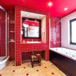 Стильная ванная в красном цвете
