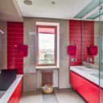 Дизайн ванной комнаты в красном цвете - фото