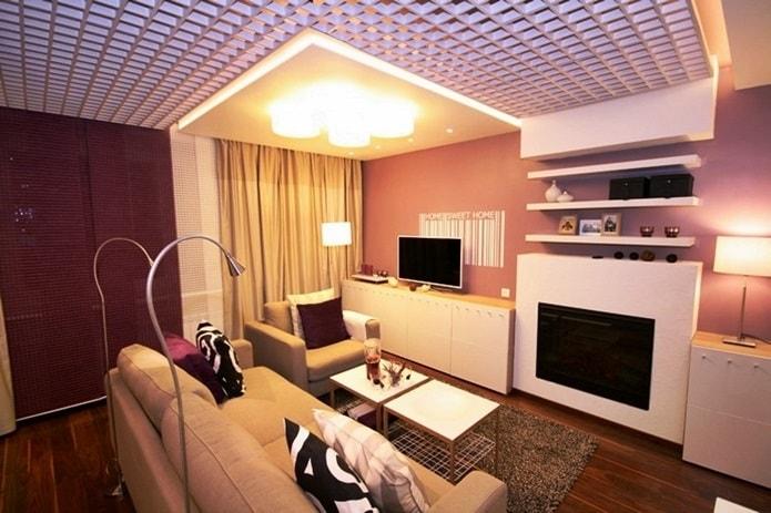 Потолки грильято в интерьере гостиной