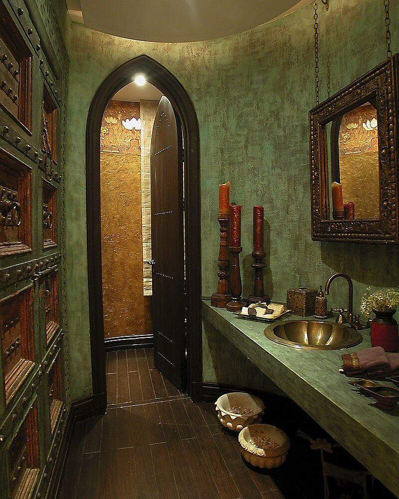 Романский стиль в интерьере ванной комнаты